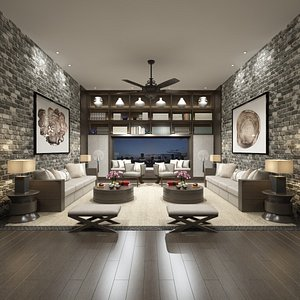 3D Living Room and Home Library in Chinese style model
