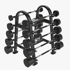 3D model barbell rack rubber