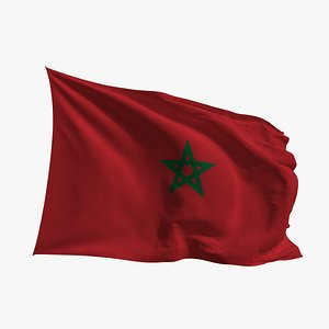 Realistic Animated Flag - Microtexture Rigged - Put your own texture - Def Morocco 3D model