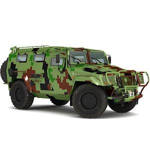 3D model Military vehicle primitiv interior