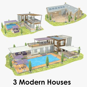 Modern House Collection - Low Poly - Textured 3D model