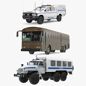Prison Transport Rigged Collection 3D model