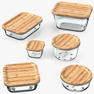 Glass Food Storage Containers with Bamboo Lids Set model