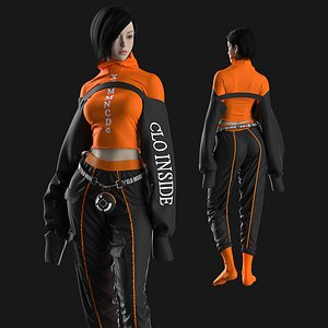 Female Modern Outfit 5 Marvelous Designer project 3D model