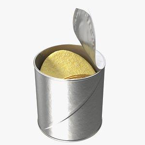 3D Small Opened Foil Tube of Potato Chips