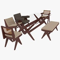 Cassina Jeanneret Capitol Complex Mahogany Table and Seating Set
