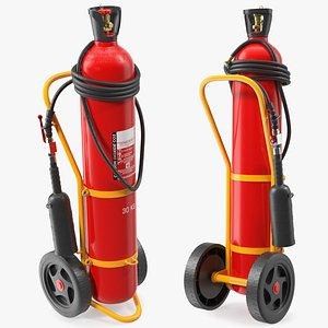 trolley mounted extinguisher 30kg 3D model