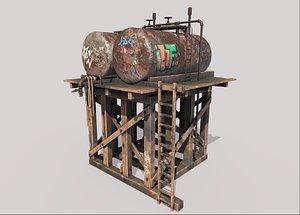 3D Wooden Oil Tanks Platform