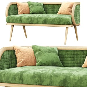 Victoria velour two-seater restaurant sofa DC18 3D model