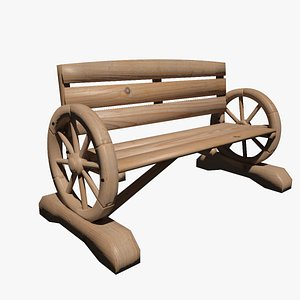 Wood Cart Bench 3D
