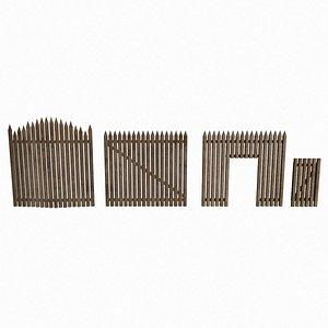3D Palisade Wood Fence Modular