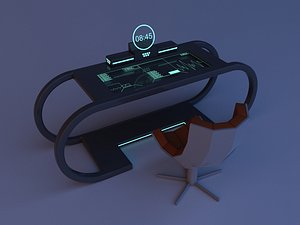 Scifi Futuristic table and chair 3D model