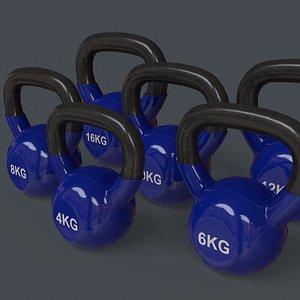 3D PBR 4-16KG Kettlebell V1 - Blue