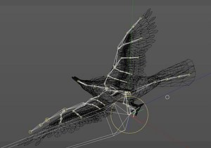 3D Wounded raven animation pbr Low-poly 3D model