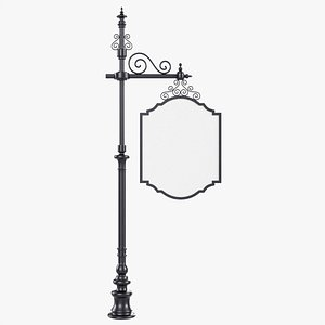 3D Forged column with hanging board 01