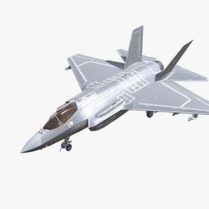 3D F-35 Lightning Jet Fighter Aircraft Low-poly model