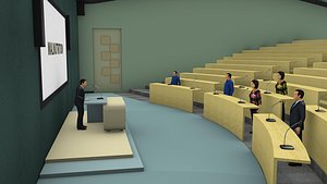 Conference hall and male and female rigged character 3D model