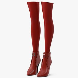 Leather Boots with Stockings 3D