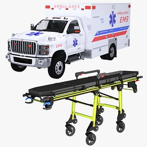 EMS Ambulance and Stretcher Collection 3D model