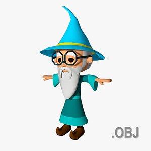 Wizard - OBJ - Low Poly Quad model