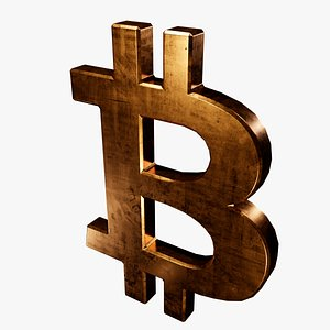 3D model symbol copper bitcoin