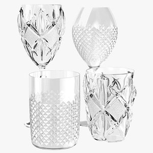 3D Glass Cups Collection model