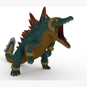 Crocodile Monster Rigged and Animated 3D model