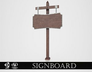 Medieval Signboard v2 3D model