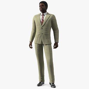 Dark Skin Black Man in Formal Suit 3D model