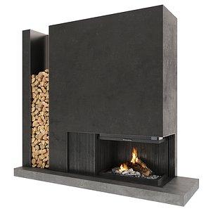 3D fireplace firewood