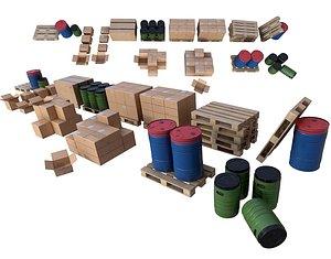 Warehouse Set PBR Game Ready 3D model