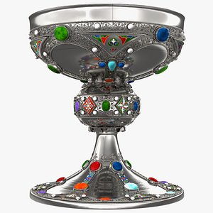 3D Silver Cup Encrusted with Precious Stones