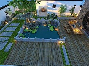3D Villa garden, luxury villa courtyard, villa landscape, luxury villa entrance garden, rear garden, la
