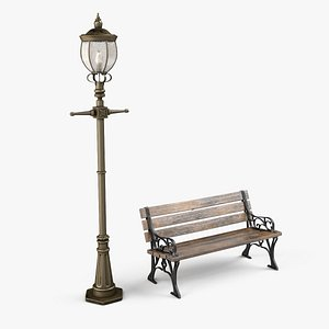 3D Old Victorian Street Lamp and Park Bench