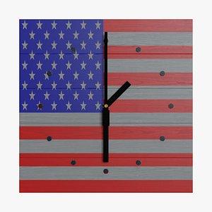 wallclock colored usa clock 3D