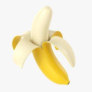 3D Half peeled banana