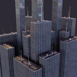 futuristic skyscrapers blocks cityscapes 3D model