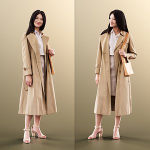 3D woman young trenchcoat