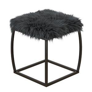 Ridge Road Decor Faux Fur Upholstered Ottoman in Gray 3D model