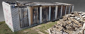 3D White Brick Wooden Shed