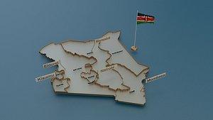 kenya provinces state 3D