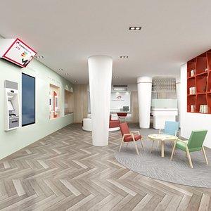 interior bank branch area 3D model