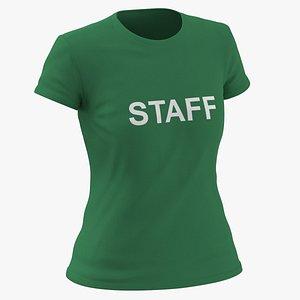 3D model Female Crew Neck Worn Green Staff 02