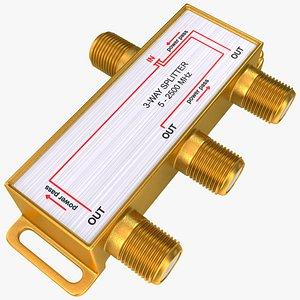 TV Digital Signal 3 Way Coax Cable Splitter 3D model