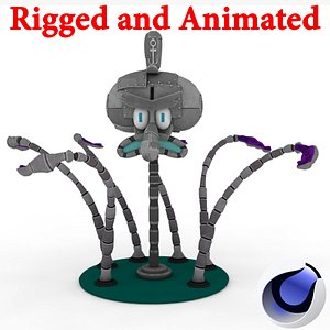 Robot Squidward Rigged and Animated model