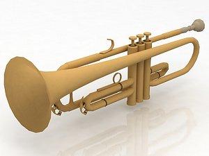 3D Brass bell trumpet
