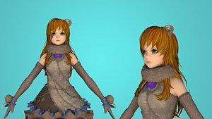 girl cartoon toon 3D model