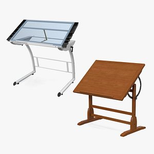 Tiltable Drawing Tables Collection 3D model