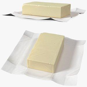 Whole Block of Butter in Open Foil Packaging 3D model
