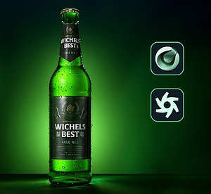 3D green beer bottle caustics